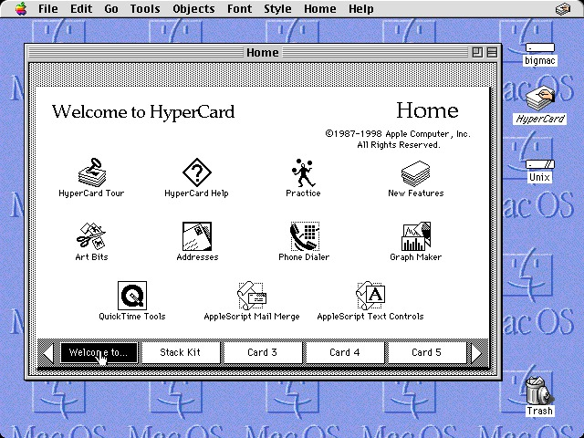 Hypercard (version 2.4.1.) Home card.